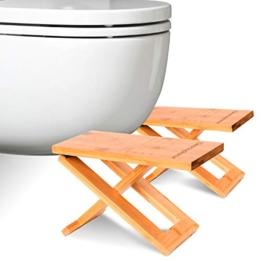 Physiologischer Toilettenhocker aus Bambus – Fußhocker aus Holz zusammenklappbar - Klapp- und Designfußstütze - gesunde Sitzhaltung auf Toilette gegen Verstopfung - Von Ärzten empfohlen - 1