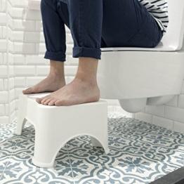 ToiletSquat Toilettenhocker | Medizinische Toilettenhilfe Tritthocker | bessere Sitzhaltung auf der Toilette für Erwachsene | Weiß | gegen Verstopfung und Hämorrhoiden | Größe 47 * 32 * 21 cm - 1