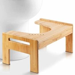 Top Life Physiologischer Toilettenhocker aus Bambus – WC-Trittbrett aus Holz – Fußstütze mit Einstellbarer Höhe – Damm- und Verstopfungsbehandlung, von Ärzten empfohlen - 1